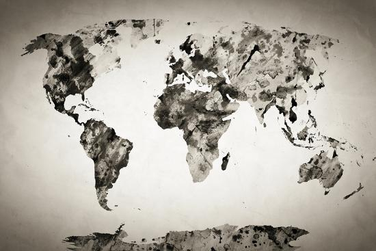 Watercolor world map black and white paint on paper retro style watercolor world map black and white paint on paper retro style hd quality gumiabroncs Choice Image
