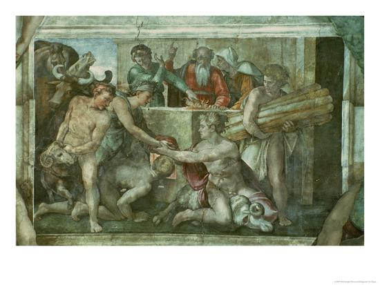 michelangelo-buonarroti-sistine-chapel-ceiling-noah-after-the-flood-pre-restoration