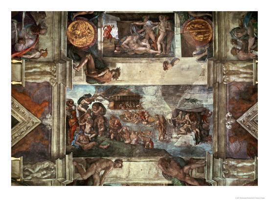 michelangelo-buonarroti-the-sistine-chapel-noah-s-drunkenness-the-flood