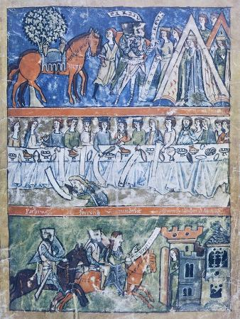 miniature-depicting-three-scenes-of-a-knight-s-life-from-perceval-or-the-story-of-the-grail