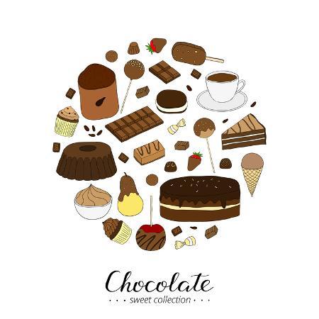 minur-hand-drawn-chocolate-products-in-circle-shape-cocoa-chocolate-cake-cupcake-bundt-ice-cream-ca