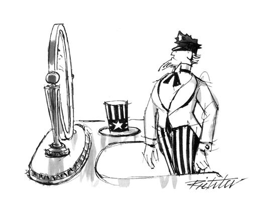 mischa-richter-uncle-sam-modeling-a-policeman-s-cap-in-front-of-a-mirror-new-yorker-cartoon