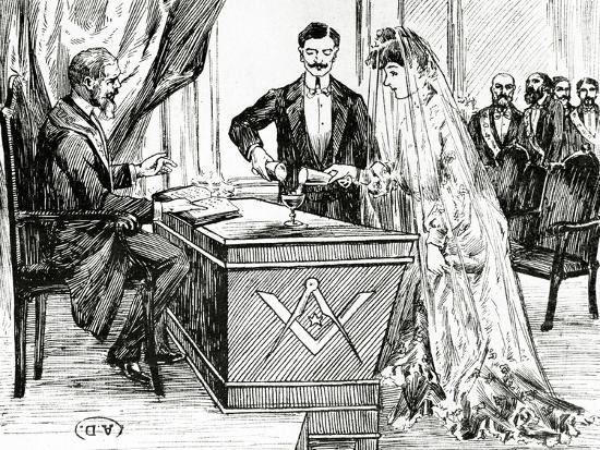 mixing-wine-and-water-to-symbolise-union-at-a-masonic-wedding-in-france-c-1900