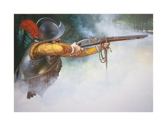 musketeer-of-the-early-17th-century-firing-a-matchlock-musket