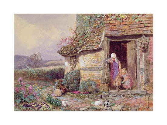 myles-birket-foster-at-the-cottage-door