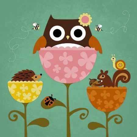 nancy-lee-owl-squirrel-and-hedgehog-in-flowers