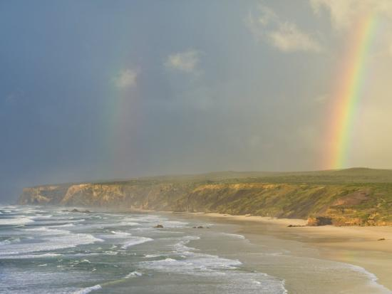 neale-clarke-double-rainbow-after-storm-at-carrapateira-bordeira-beach-algarve-portugal-europe