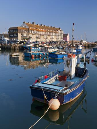 neale-clarke-west-bay-harbour-with-yachts-and-fishing-boats-bridport-unesco-world-heritage-site-england