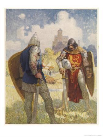newell-convers-wyeth-sir-lancelot-challenges-sir-tarquin-who-has-imprisoned-king-arthur-s-knights