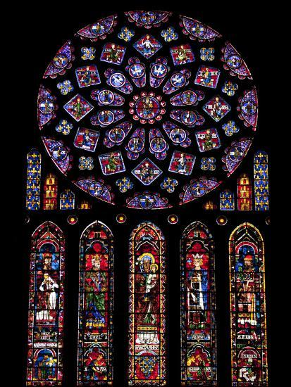 Rose Window Stained Glass Windows In North Transept Chartres Cathedral UNESCO World Heritage Sit