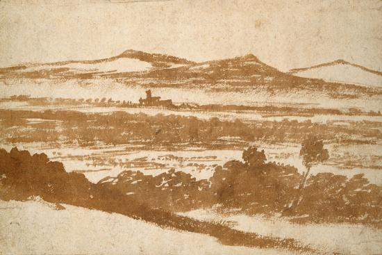nicolas-poussin-view-across-a-valley-towards-distant-hills-brush-and-reddish-brown-wash