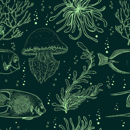 nikolayenko-yekaterina-seamless-pattern-with-tropical-fish-jellyfish-marine-plants-and-seaweed-vintage-hand-drawn-vecto