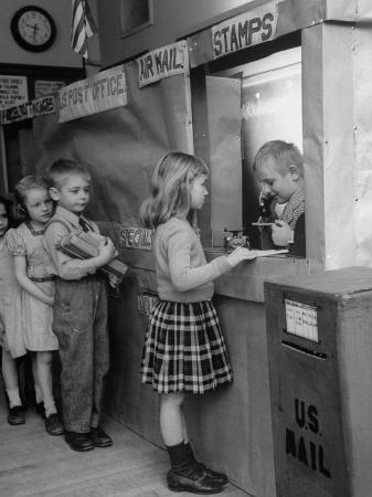 nina-leen-model-post-office-a-teacher-set-up-in-the-classroom-for-the-children-to-learn-about-the-mail-system