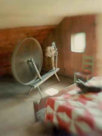 nina-leen-spinning-wheel-in-attic-room-cat-lying-at-foot-of-bed