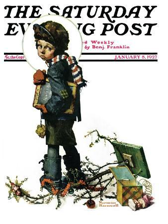 norman-rockwell-back-to-school-or-vacation-s-end-saturday-evening-post-cover-january-8-1927