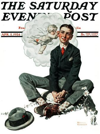 norman-rockwell-cupid-s-visit-saturday-evening-post-cover-april-5-1924