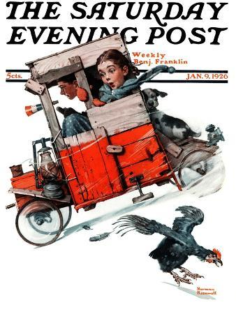 norman-rockwell-look-out-below-or-downhill-daring-saturday-evening-post-cover-january-9-1926