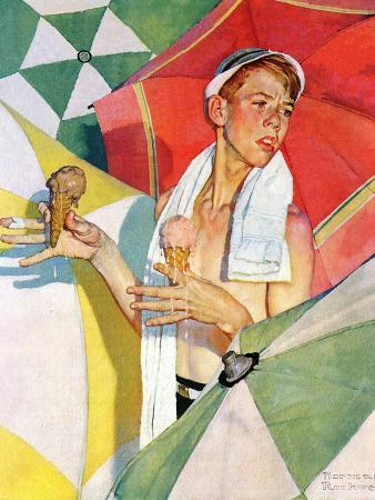 norman-rockwell-melting-ice-cream-or-joys-of-summer-july-13-1940