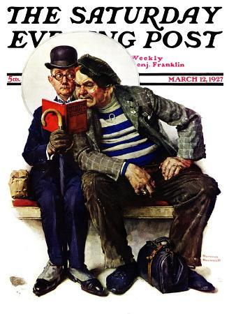 norman-rockwell-plot-thickens-saturday-evening-post-cover-march-12-1927