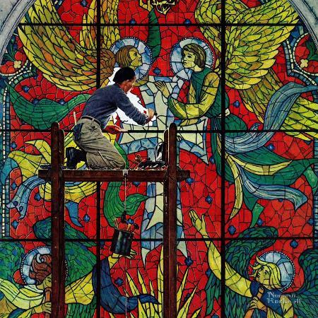 norman-rockwell-repairing-stained-glass-april-16-1960