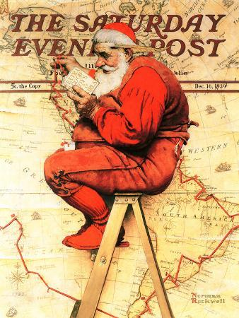 norman-rockwell-santa-at-the-map-saturday-evening-post-cover-december-16-1939