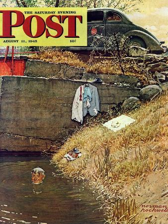 norman-rockwell-swimming-hole-saturday-evening-post-cover-august-11-1945