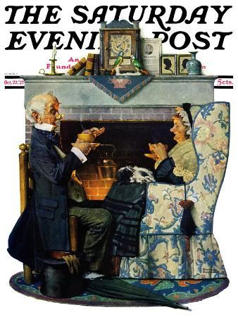 norman-rockwell-tea-for-two-or-tea-time-saturday-evening-post-cover-october-22-1927