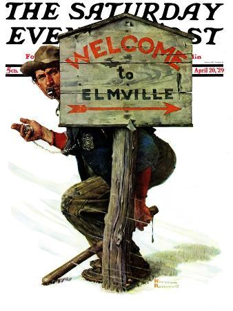 norman-rockwell-welcome-to-elmville-saturday-evening-post-cover-april-20-1929