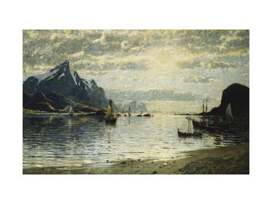 normann-adelsteen-a-fjord-scene-with-sailing-vessels