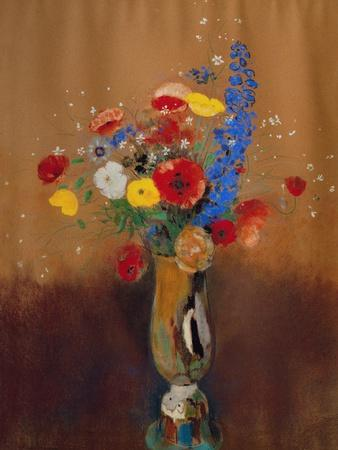 Bouquet Of Wild Flowers In A Vase With Long Neck 1912