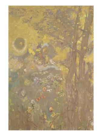 odilon-redon-decoration-domecy-arbres-sur-fond-jaune