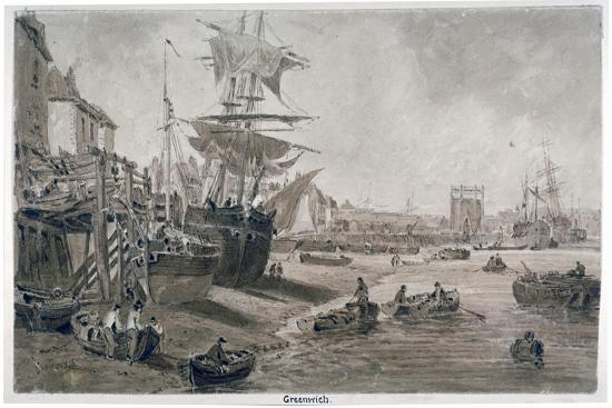 old-houses-and-boats-on-the-riverbank-at-low-tide-greenwich-london-c1823