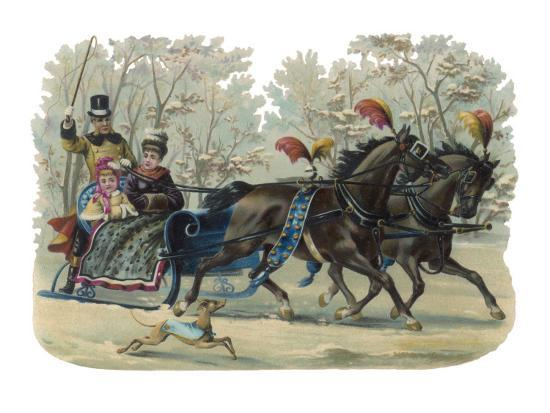 older-and-younger-sisters-ride-in-a-sleigh-while-their-dog-runs-beside-them