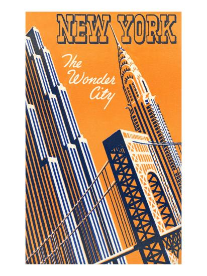 Orange And Blue Graphic Of New York City Skyline Art Print