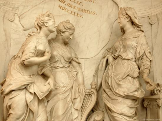 Ornate Beige Stone Statues of Women by a Wall with Roman Numerals ...