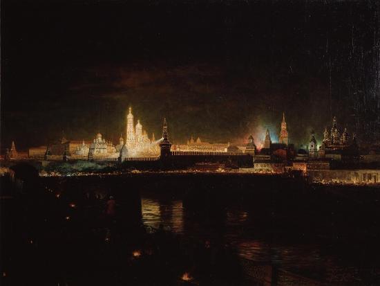 oskar-adolfovich-hofman-illumination-of-the-moscow-kremlin-1883