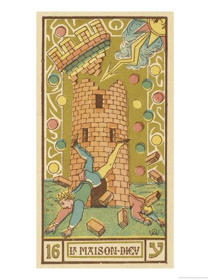 Tarot 16 la maison dieu the tower giclee print by oswald for A la maison translation