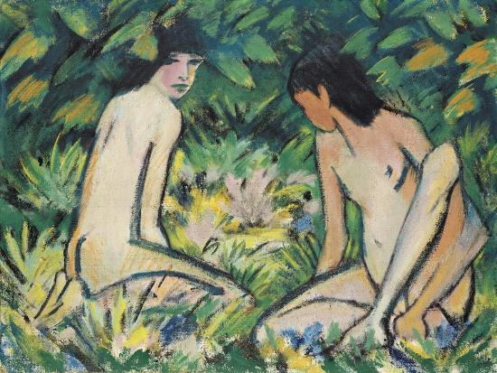 otto-muller-or-mueller-girls-in-the-open-air-pastel-on-canvas