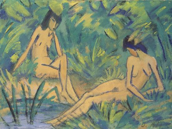 otto-muller-or-mueller-girls-sitting-by-the-water-c-1920
