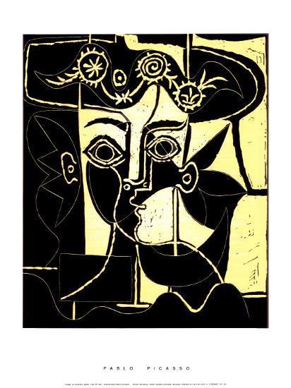 Femme au Chapeau Orne, c.1962 Serigraph by Pablo Picasso at Art.com