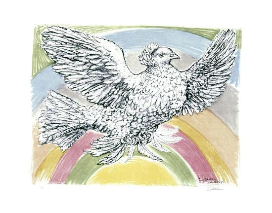 pablo-picasso-flying-dove-with-rainbow-background-1952
