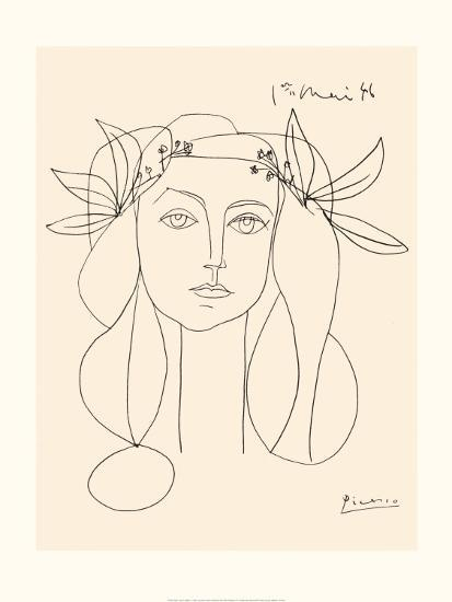 Picasso Line Drawing Tattoo : Head of a woman art print by pablo picasso at