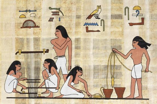 papyrus-depicting-spinning-and-weaving-reconstruction-of-middle-kingdom-painted-relief