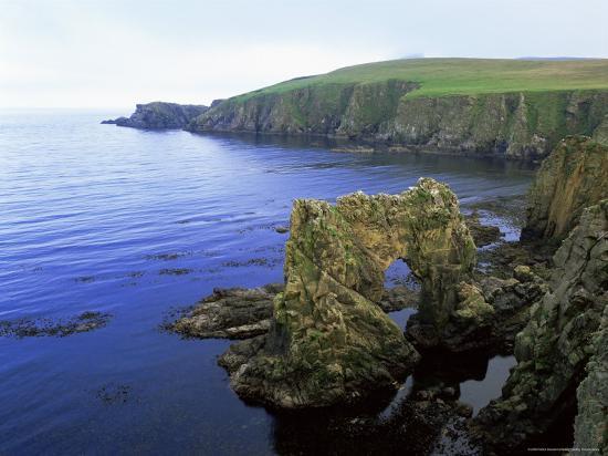 Natural Arch on the East Coast, Fair Isle, Shetland Islands ...