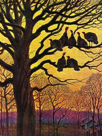 paul-bransom-wild-turkeys-roosting-november-1-1938