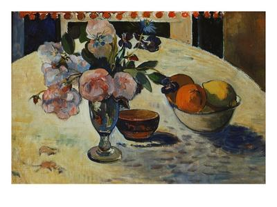 Flowers And A Bowl Of Fruit On A Table Giclee Print By
