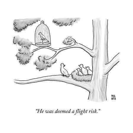 paul-noth-a-bird-in-a-birdcage-sits-on-a-tree-branch-as-more-birds-in-a-nearby-nest-new-yorker-cartoon