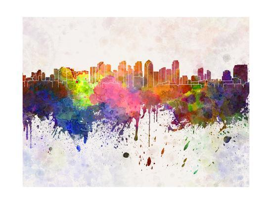 paulrommer-san-diego-skyline-in-watercolor-background