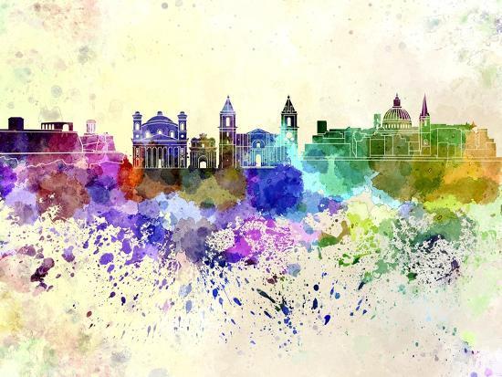 paulrommer-valletta-skyline-in-watercolor-background