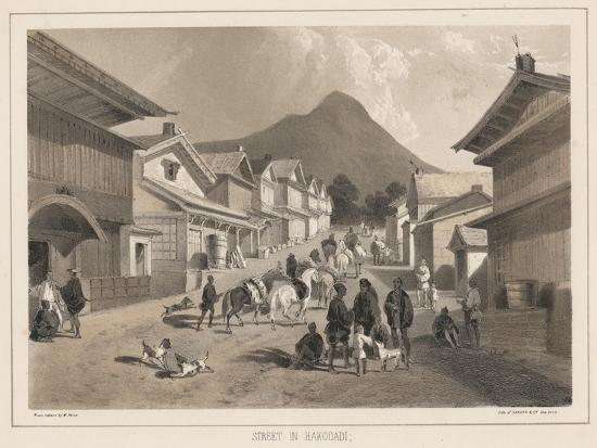 peter-bernhard-wilhelm-heine-street-in-hakodadi-litho-by-sarony-and-co-1855